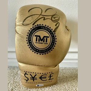 Floyd Mayweather Autographed Gold TMT Boxing Glove